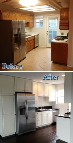 This full kitchen remodel took a total of 8 days, including the replacement of over 500 square feet of new hardwood flooring throughout the entire space.