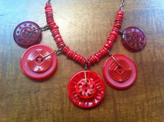 Red Vintage Bakelite and Lucite Button Necklace by LilyHillVintage, $39.00