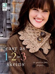 Easy As 1-2-3 Skeins offers 58 projects such as small accessory items, gift items and garments for babies and adults. In our Just a Skein chapter, we've got an exciting range of projects from preemie caps to single-skein stylish scarves made using one skein of yarn or multiple colors, requiring only one skein of each color. If you're pressed for time, these projects will provide quick gift-g