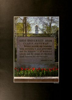 Athena yearbook, 2000. The Ohio University Class Gateway in the spring time when the tulips are in bloom. :: Ohio University Archives