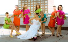 neon bridesmaids and wedding attire