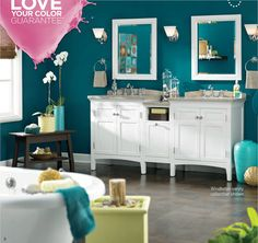 Lowes Valspar paint ad. The wall color is Gypsy Teal 5010-8.