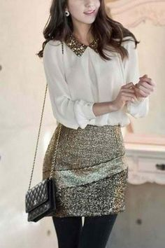 i love the idea of a sheer button up, sequin skirt, and black tights:)