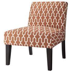 Avington Upholstered Armless Accent Slipper Chair - Orange Trellis