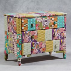 Shabby chic padded patchwork chest of drawers