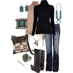 Black turtle neck; skinny jeans; boots OR converses; scarf; artsy necklace (like clock on chain); fun earrings