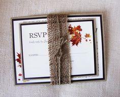 Rustic Wedding Invitation, Barn, Country or Fall Wedding,Rustic  Burlap Invitation