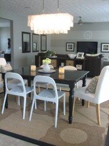 kitchens, decor, stencil rug, ikea chair, rugs, stencils, dine design, dining tables, nest tabl
