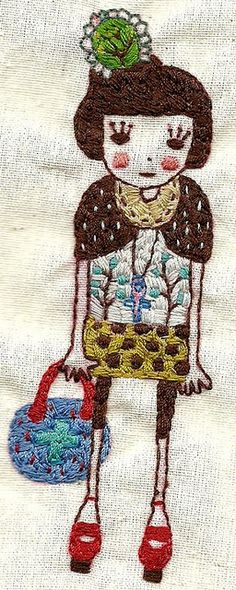 My future daughter's portrayal. Sewing threads on calico fabric.