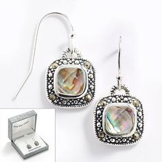 Silver Plate Abalone Doublet and Marcasite Frame Drop Earrings available from Kohls