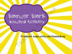 Wonder Work from K's Creation on TeachersNotebook.com -  (2 pages)  - Wonder Work is a great independent reading activity using www.wonderopolis.org. It focuses on reading comprehension and vocabulary.