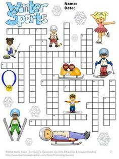 Winter Olympics Sports Crossword Puzzle: Here is a crossword puzzle to practice 20 winter sports vocabulary words. You will receive a crossword puzzle, clues, word bank and answer key. The word bank is on a separate page, so it may be optional to give to the students - allows for differentiation!