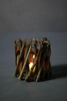 driftwood woven around votive