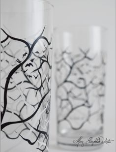 Spooky Black and White Trees with Bats - Halloween Glasses $9.95 each by Mary Elizabeth Arts