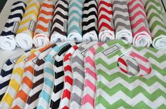 Pick 6 Chevron Baby Bibs and/or Burp Cloths by peekabootiquequilts