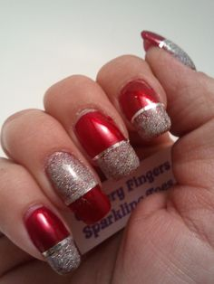 Glittery Fingers  Sparkling Toes: Red  Silver French Tip