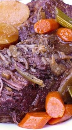Best Danged Slow Cooker Pot Roast ~ It's So Tender and Full of Flavor. Chuck Roast, Olive Oil, Onion Soup Mix, Brown Gravy Mix, Unsweetened Applesauce, Water, Salt & Pepper, Carrots, Celery, Potatoes, and an Onion.
