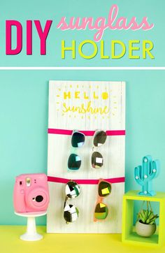 We made  this Hello Sunshine Sunglass Holder – Teen Summer Craft and it's perfect  for displaying all your summer shades! #silhouette #cricut #diy #crafts #projects #diycrafts #diyprojects #diyideas  #diecutting #diecuttingmachine #cutfiles #svgfiles #diecutfiles  #diycricutprojects #cricutprojects #silhouetteideas #cricutideas #vinylprojects  #vinyl
