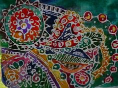 Diy Batik for kids. Gel elmers glue and fabric paint.