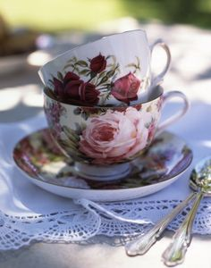 pretty stacked teacups