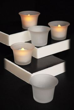 Frosted Glass Oyster Cups Tealight Candle Holders 2x2 (24 pieces) 9.12 (6=144, 54.72)