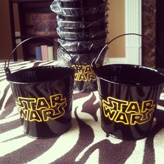 Star Wars- Children's Party Favor Buckets/ Treat Bag with Your Choice of Logo, Style 1. $2.75, via Etsy.