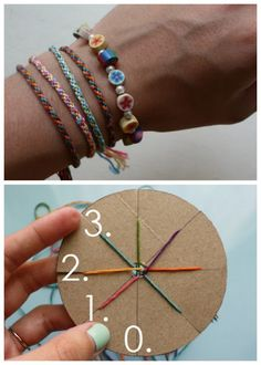 DIY Woven Friendship Bracelet Using a Circular Cardboard Loom.