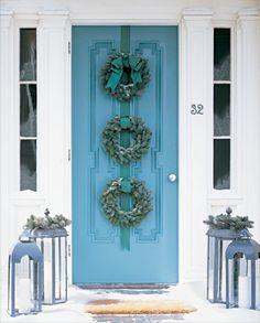 Spruce wreaths, Martha Stewart. #christmas #decorations