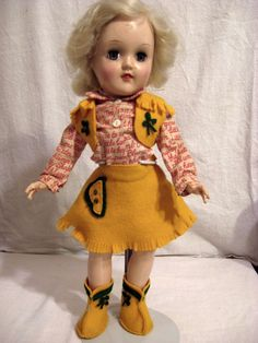 Ideal Toni Doll Platinum Blond 14 inch in Cowgirl Outfit 1950s