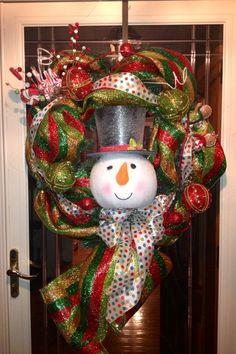 Wreath deco mesh snowman