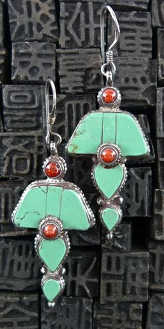 Earrings | Designer ?  Sterling silver, turquoise and coral.