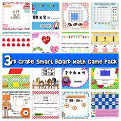 ($) 16 math SMART BOARD games:  Factor Friends  Multiplication Facts Games (also included in the 4th grade pack)  Transportation Estimation  Tool Time  Rounding Robots  Perimeter Picnic  Missing Number Monsters  Input/Output Tables (addition and subtraction)  Geometry Barbecue (focused primarily on quadrilaterals)  Fractions on the Farm  Fraction Fiesta  Multiplication Candy Arrays  Buggy Graphs  Big Top Circus Extended Multiplication  Area Flower Garden  Add and Subtract Bakery