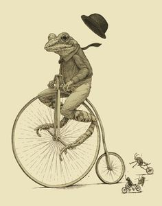 Frog on Bike Print 8x10 Old Time Bicycle Art by ScatterbrainPrints, $15.00