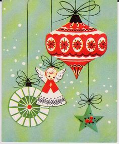 Vintage Christmas Card - Mid-Century ornaments