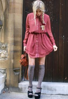 street fashion, style, braid, dresses, outfit, thigh highs, the dress, knee highs, knee high socks