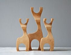 set of 3 handcarved modern deer by ModishVintage