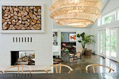 lights, dining rooms, interior design, houses, light fixtures, interiors, fireplaces, interiordesign, firewood storage
