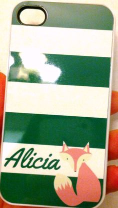Sweet Briar-tastic green striped phone case with a PINK fox  <3
