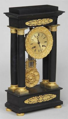 French empire bronze mounted mantle clock, 19-1/2''h,