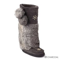 "I have these and love them!!  Manitobah Mukluks - an Aboriginially owned company based out of Winnipeg, Manitoba, Canada.  Metis Mukluk Metis Mukluk Metis Mukluk Metis Mukluk Metis Mukluk Metis Mukluk Metis Mukluk Metis Mukluk in Charcoal Foot Lining: Sheepskin Shearling Height: 15"" Tall Materials: Cowhide Suede, Rabbit Fur  Sole: Our sole was developed by Vibram™, the world's leader in sole technology, who used their 70 years of history and a rugged TC1 compound to provide a durable, low profile sole that could also serve as a canvas for an Aboriginal Story. The artwork and story on the sole was created by an aboriginal artist in Winnipeg, Canada."