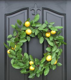 Lemon Wreath Spring Wreath Door Wreaths Lemons by twoinspireyou, $75.00