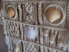 RESERVED for Soulflowerboutique -Vintage  Macrame wall hanging with bamboo and accentuated with  sea shells made in the 1960s