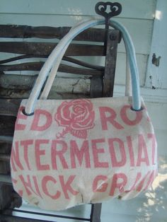 vintage RED ROSE chick feed sack purse  Medium by ginnymae on Etsy, $60.00