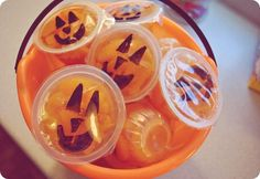 mandarin orange cup jack-o-lanterns: a healthy treat for school parties