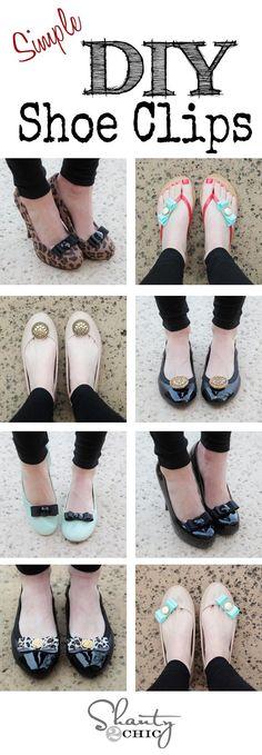 DIY Shoes Refashion: DIY Shoe Clips! Genius idea to jazz up those plain shoes!