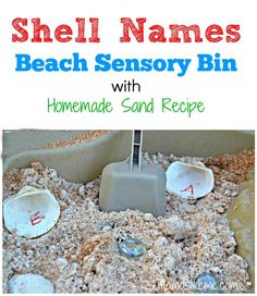 #Shell Names Beach Sensory Bin Activity - This is great for helping the kids learn to recognize and spell their names and it has an easy recipe for sand!! #ocean #preschool #sensorybin