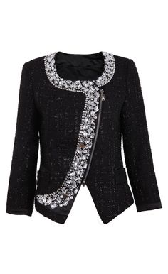Black Long Sleeve Rhinestone Zipper #Outerwear Perfect for a party!