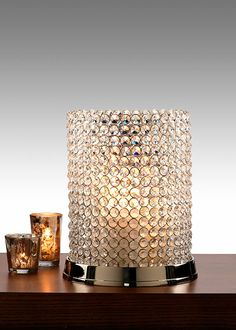 11in Crystal Bead Pillar Candle Stand