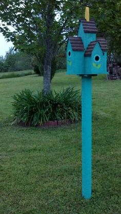 Pretty blue bird house