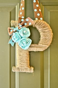 Twine Monogram Wreath with handcrafted flowers rosettes and polka dot ribbon for hanging Cute idea